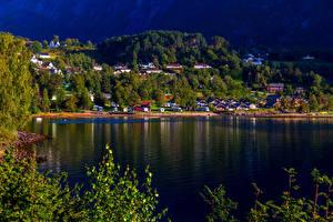 Fotos Norwegen Haus Dorf Bucht Kinsarvik Hardangerfjord Städte