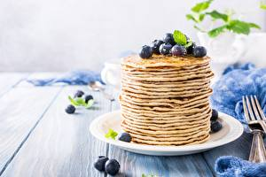Picture Pancake Blueberries Plate Food