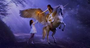 Fotos Pegasos Einhorn Flügel Nebel Magierstab Mädchens