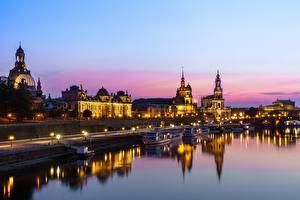 Fonds d'écran Rivières Maison Dresde Allemagne Soir