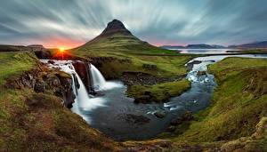 Bilder Fluss Wasserfall Island Landschaftsfotografie Sonne Kirkjufell Natur