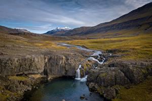 Fotos Fluss Wasserfall Island Skorhagafoss Natur
