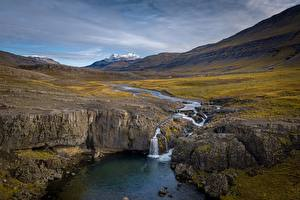 Photo River Waterfalls Iceland Skorhagafoss Nature