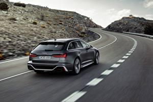 Fotos Straße Audi Bewegung Grau Metallisch Kombi Hinten RS 6 2020 2019 V8 Twin-Turbo automobil