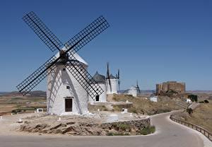 Hintergrundbilder Straße Spanien Mühle Consuegra, La Mancha