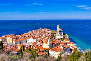 Pictures Sea Houses Slovenia From above Piran Cities