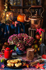 Pictures Still-life Kettle Pumpkin Candles Bouquet Meat products Cinnamon Mug Food
