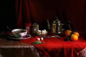 Photo Still-life Mandarine Kettle Cup Sugar