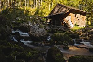 Hintergrundbilder Steine Laubmoose Wassermühle Bach