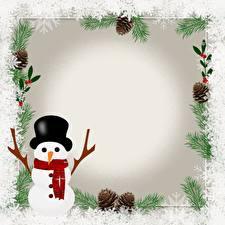 Hintergrundbilder Vorlage Grußkarte Schneemänner Der Hut Schal Schneeflocken Zapfen
