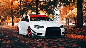 Hintergrundbilder Fahrzeugtuning Herbst Mitsubishi Weiß Lancer Evolution X