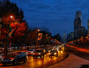 Photo USA Autumn Houses Roads Evening Street lights Flag Philadelphia Cities