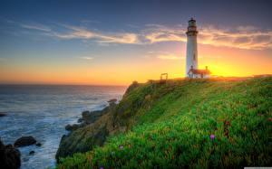 Hintergrundbilder Vereinigte Staaten Morgendämmerung und Sonnenuntergang Küste Leuchtturm Himmel Kalifornien Gras Pigeon Point Lighthouse