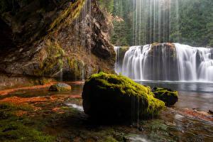 Hintergrundbilder Vereinigte Staaten Wasserfall Steine Felsen Laubmoose Gifford Pinchot National Forest