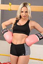 Images Vendula Bednarova Boxing Blonde girl Hands Glove Shorts young woman