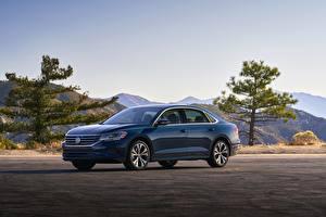 Bilder Volkswagen Blau Metallisch Limousine Passat, 2020, 2019, US Version Autos