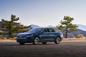 Bureaubladachtergronden Volkswagen Blauw kleur Metallic Sedan Passat, 2020, 2019, US Version Auto