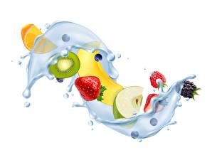 Images Water Fruit White background Water splash 3D Graphics