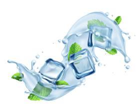 Hintergrundbilder Wasser Weißer hintergrund Würfel Eis Spritzwasser Minzen 3D-Grafik