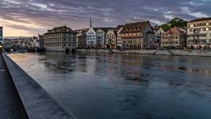 Wallpapers Zurich Switzerland River Building Sunrises and sunsets Limmat Cities