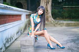 Bilder Asiaten Bank (Möbel) Sitzt Bein High Heels Kleid Dekolletee Brünette Starren Unscharfer Hintergrund junge frau