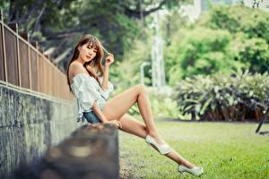 Hintergrundbilder Asiatisches Unscharfer Hintergrund Sitzt Bein Braunhaarige Blick Schöne junge Frauen