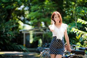 Fotos Asiaten Unscharfer Hintergrund Rock Braune Haare Starren Junge frau Mädchens