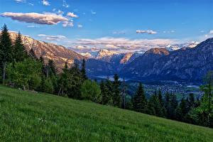 Bilder Österreich Berg Alpen Gras Bäume Riedln Bad Goisern