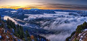 Bilder Österreich Landschaftsfotografie Gebirge Fichten Wolke Styria
