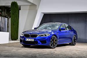 Bakgrunnsbilder BMW Blå Sedan 2017 M5 F90 bil