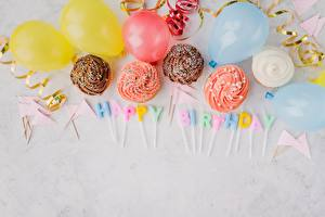 Wallpaper Birthday Candles Fairy cake Lettering English Balloons Food
