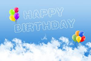 Pictures Birthday Lettering Balloons English Clouds