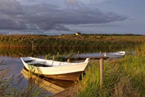 Papel de Parede Desktop Barcos Rios Grama Naturaleza