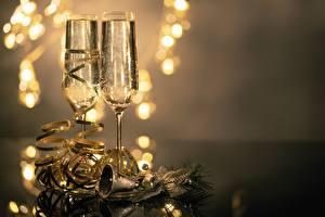Bilder Schaumwein Unscharfer Hintergrund Weinglas 2 Glocke