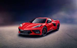 Hintergrundbilder Chevrolet Rot Metallisch Coupe Corvette, Stingray, Z51, 2020 auto