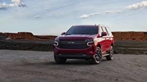 Bilder Chevrolet Vorne Rot Metallisch SUV Tahoe, 2020