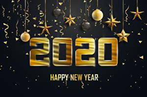 Fotos Neujahr Kugeln Kleine Sterne Wort Englische 2020