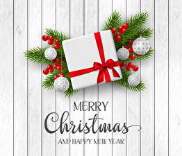 Hintergrundbilder Neujahr Beere Englisches Ast Geschenke Kugeln Text 3D-Grafik