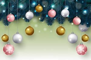 Bilder Neujahr Ast Kugeln Bunte Vorlage Grußkarte