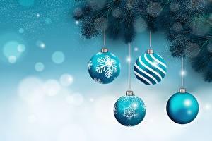 Hintergrundbilder Neujahr Ast Kugeln Schneeflocken