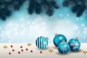 Bilder Neujahr Ast Kugeln Schneeflocken Kleine Sterne