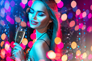 Pictures New year Sparkling wine Brown haired Face Makeup Stemware young woman