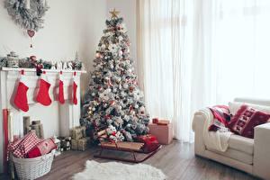 Bilder Neujahr Weihnachtsbaum Zimmer Socken