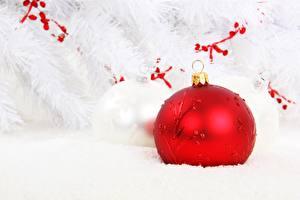 Bilder Neujahr Großansicht Weiß Rot Kugeln