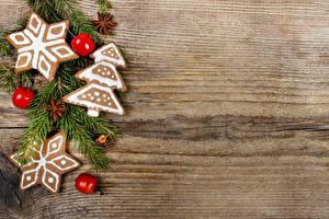Fotos Neujahr Kekse Äpfel Bretter Ast Design Christbaum Vorlage Grußkarte Schneeflocken Lebensmittel