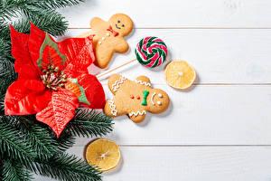 Fotos Neujahr Kekse Dauerlutscher Bretter Ast Design das Essen