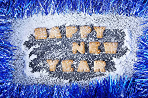 Picture New year Cookies Powdered sugar English Design Lettering