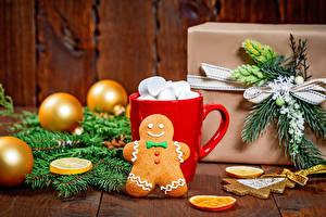 Desktop hintergrundbilder Neujahr Kekse Bretter Becher Marshmallow Kugeln Ast Geschenke das Essen