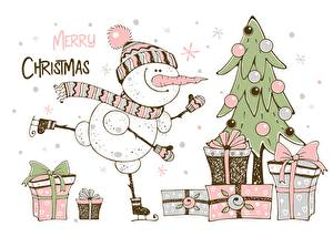 Picture Christmas Gifts New Year tree Text English Snowmen Box