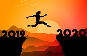 Desktop wallpapers New year Jump Silhouettes 2020 2019